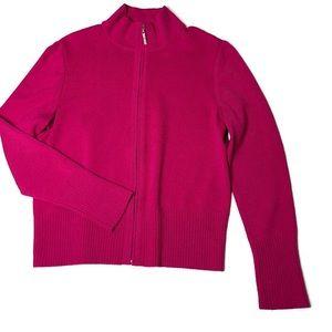 St John Pink Fuchsia zipper cardigan sweater M